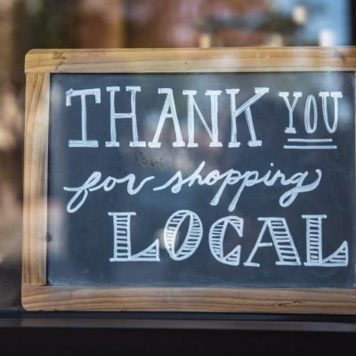 "chalk board sign that says ""Thank you for shopping local'"